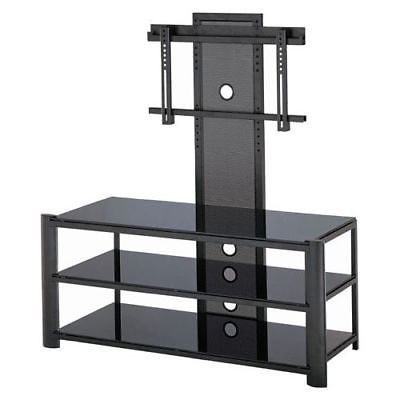 Lite Source LSH-5612 Black 3 Tier TV Stand Black / Black Glass from the Burly
