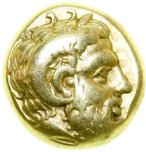 Lesbos, Mytilene. Electrum 1/6 Stater (2.51g), struck c. 412-378 BC. VF Bearded head right of Zeus Ammon with ram's horn, two tendrils of hair curling back from crown of head. : Diademed head right of female, hair rolled above nape of neck, within square incuse. Bodenstedt 67 a/α. Very rare. Estimated Value $1,000 - 1,200. #Coins #Ancient #Silver #MADonC