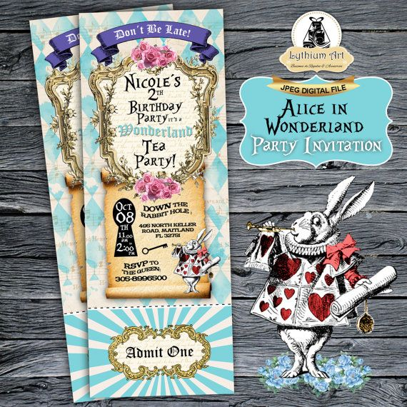 Alice in Wonderland Ticket Invitation  Alice in by LythiumArt