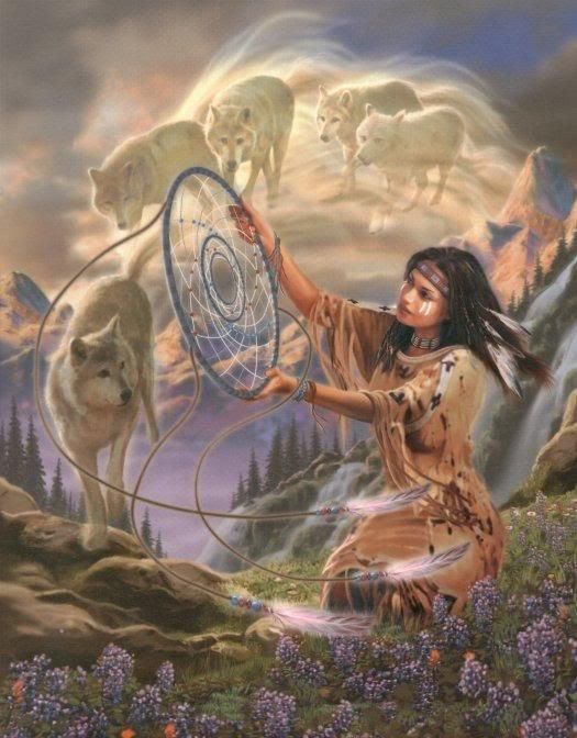 as i look into the dream catcher i see my dreams and they look like to me that my friends the wolves have lead me on a wonderful dream again and i say thank you so much