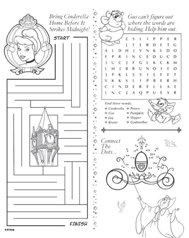 cinderella activity sheet printable rewards disney movie rewards - Activity Pages Printable