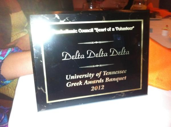 """Delta Sigma, Tennessee, also received the """"Heart of a Volunteer"""" award for their Tri Delta Golf Classic!"""