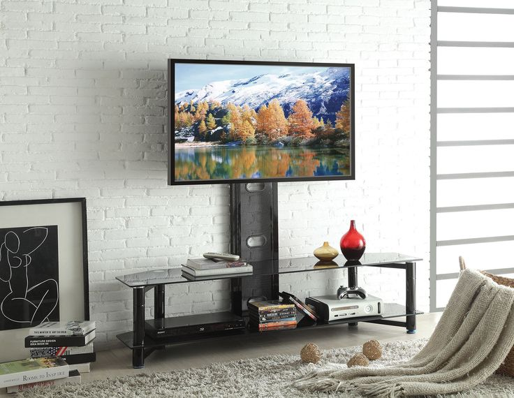 """Taijo Black Glass TV Stand  91720 $163  Features :  Taijo Collection   Tempered Glass TV stand w/1 Shelf Dimensions :  TV Stand : 59"""" x 17"""" x 54""""H"""