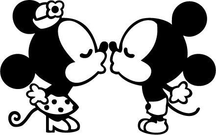 Classic Mickey and Minnie Mouse kissing vinyl wall decal | Disney ...