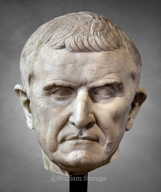 A marble head of Roman statesman and general Marcus Licinius Crassus, middle of 1st century BCE. (Louvre Museum)