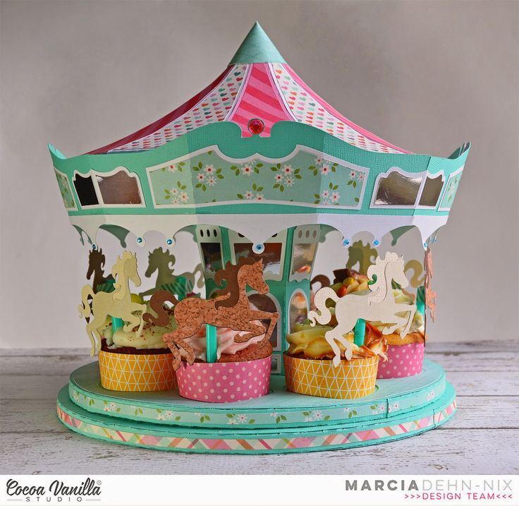"""Carousel Party with Cocoa Vanilla Studios Sugar & Spice collection. This cupcake holder is a digital cut file from @svgcuts . I used my @xyron 9"""" creative station and my @silhouette cameo to put it together. #cocoavanillastudios"""