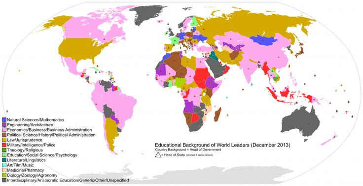This Map Shows What All The World's Leaders Studied In School Read more: http://www.businessinsider.com/what-the-worlds-leaders-studied-2013-12#ixzz2nrpaeytB