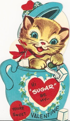 Happy Valentine's Day to all my fellow pinners!  Sugar Bowl Kitten Vintage Valentine