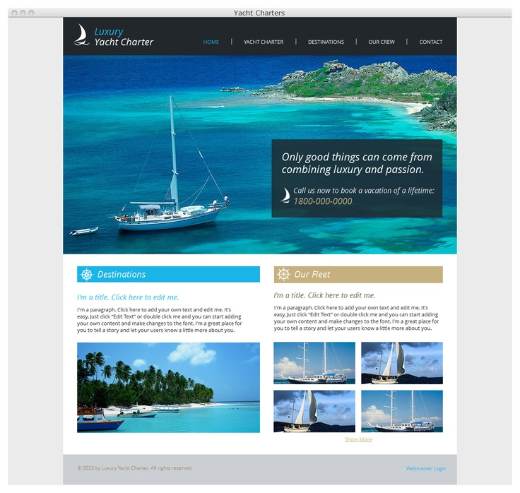 Everything looks better from a yacht...Great HTML5 website template for any…