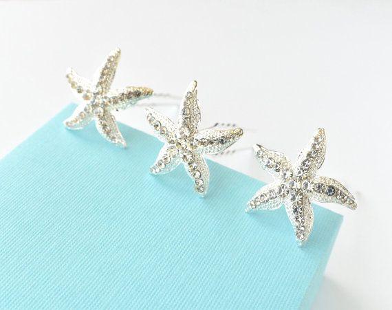 Argento cristallo strass Stella Marina capelli Pins di SSCrystals