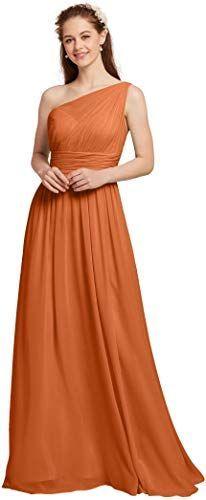 Kaufen Sie AW Chiffon Brautjungfer Kleid Frauen eine Schulter Abendkleider langes Abendkleid Plus Size online