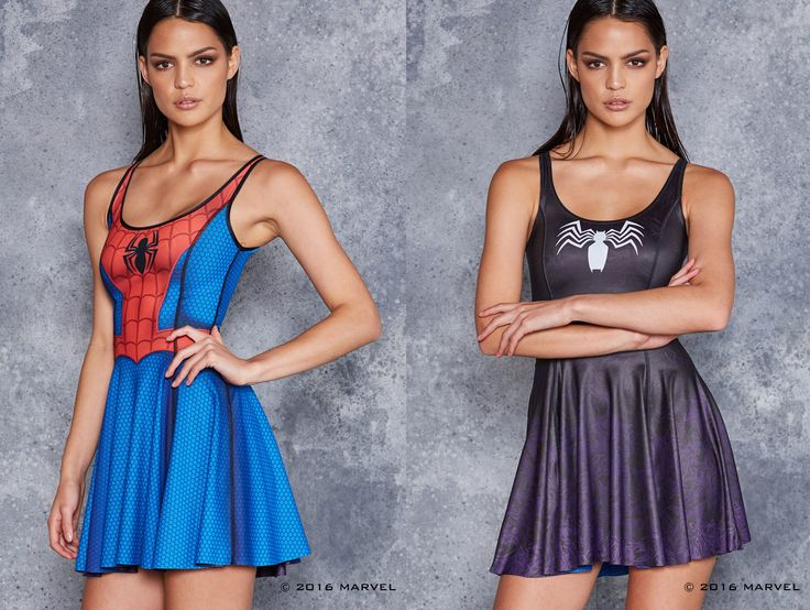 Spider-Man Vs Venom Inside Out Dress ($180AUD) by BlackMilk Clothing
