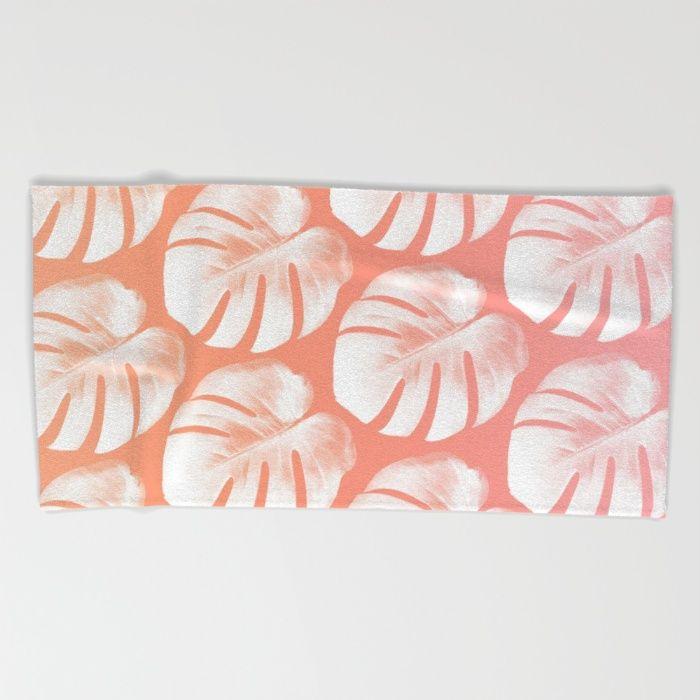 TROPIC - ROSEQUARTZ - PEACH Beach Towel #beachtowel #towel #beachwear #beachaccessory #summerfashion #summeraccessory #tropicprint #monstera #summer #trend #trending #trendy #rosequartz #peach
