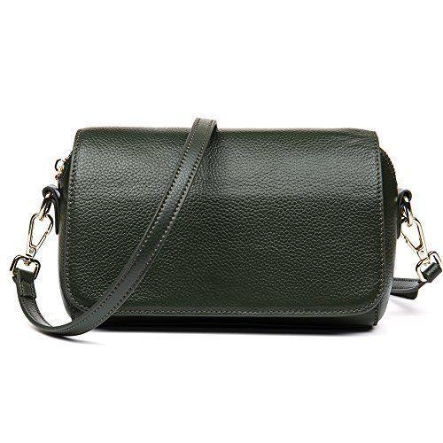 Leather Crossbody Bag Elegant Green Womens Fashion Purse Daily Shopping Gift NEW #LeatherCrossbodyBag