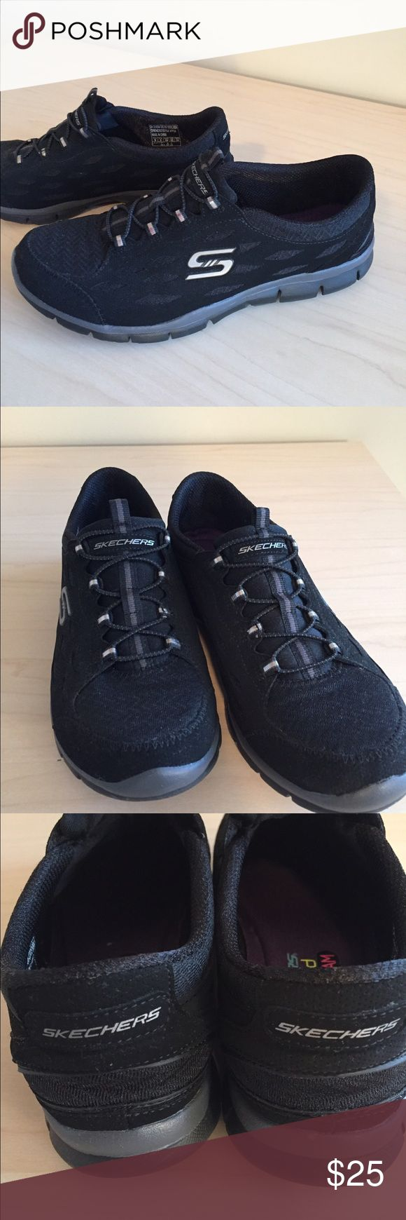 Skechers Air-Cooled Memory foam sneakers Ladies size 9 Skechers Air-Cooled Memory foam sneakers.  Have been worn but in great condition.  Simple black slip on sneaker, no tears. Skechers Shoes Sneakers