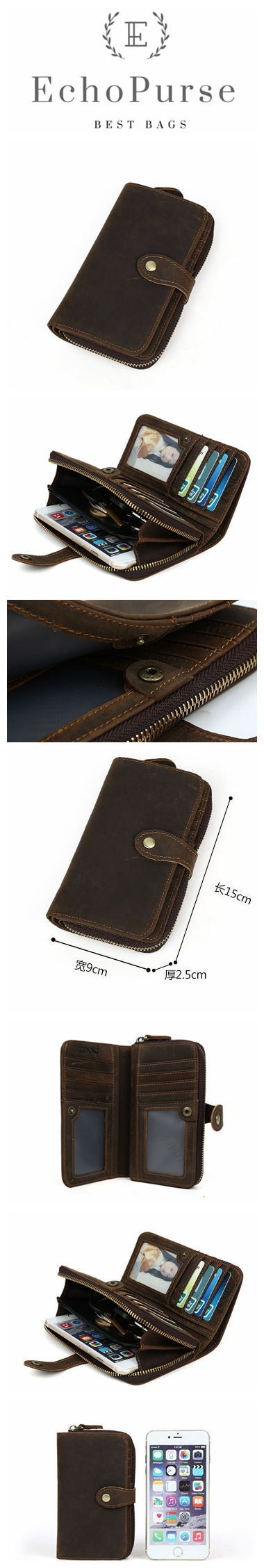 Vintage Style Leather Handbag, Multi-Function Button Cell Phone Wallet CN4027