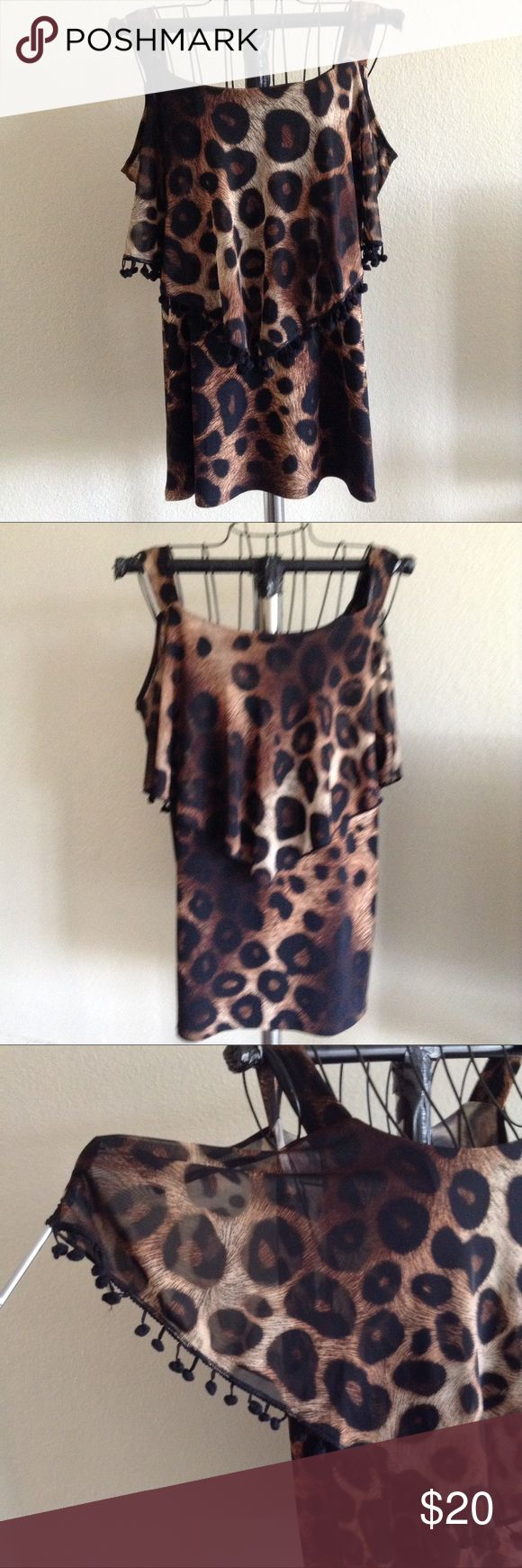 ADELE and MAY Adorable animal print cold shoulder blouse Adele and May Tops Blouses