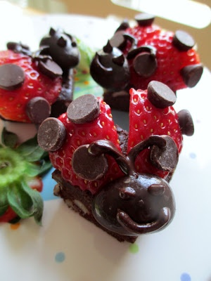 Ladybug Treats made with Chocolate Pure Bars and strawberries.