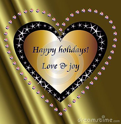 Happy holidays wishes on a golden heart surrounded by star and Christmas balls hearts.