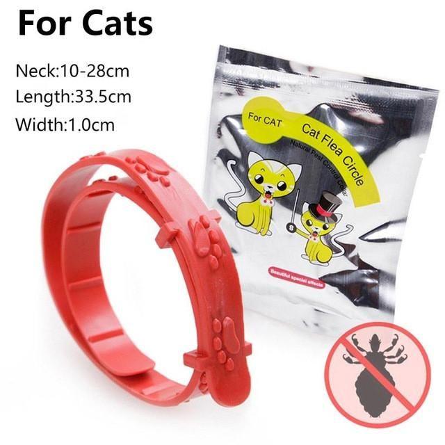 2PC Red Plastic Small Pet Puppy Dog Cat Flea Collar Ticks Mosquitoes Elimination