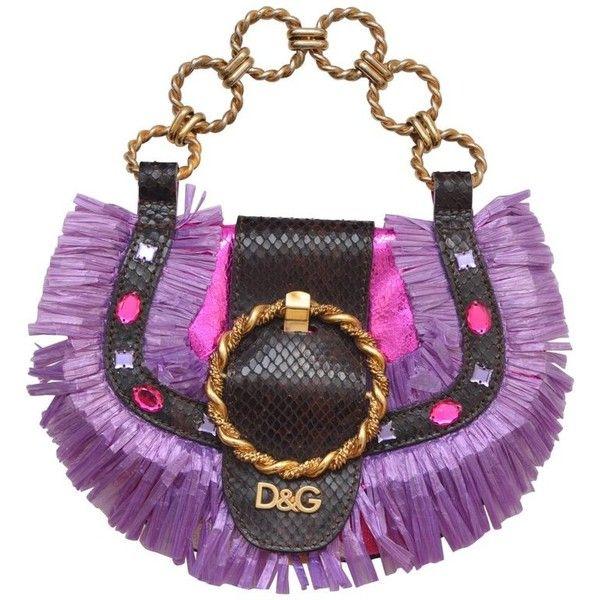 Preowned D&g Dolce Gabbana Mini Straw Metallic Fuchsia Handbag Mint ($390) ❤ liked on Polyvore featuring bags, handbags, grey, metallic handbags, mint purse, mini hand bags, mini purse and man bag