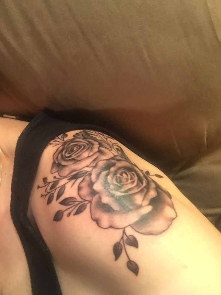 Rose shoulder cap by Christine Gibson at Red Handed Tattoo