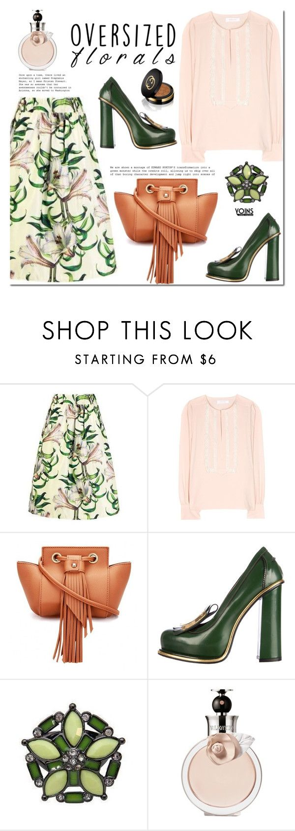 """Oversized Florals"" by mada-malureanu ❤ liked on Polyvore featuring See by Chloé, Valentino, Gucci and oversizedflorals"