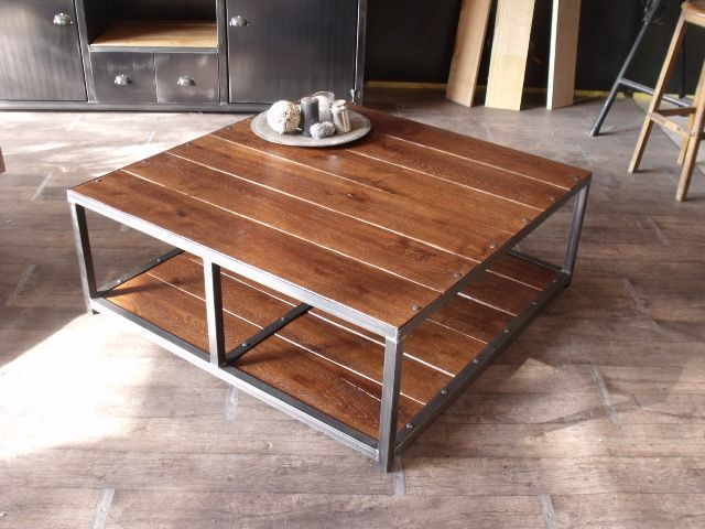 Table basse carr e en bois et m tal fabrication - Table bois metal industriel ...
