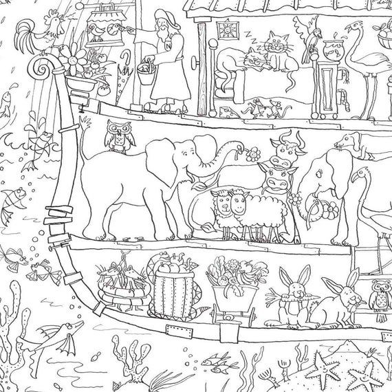 Giant Color In Poster Noah S Ark 100 X 70cm Etsy Noahs Ark Giant Poster Bible Coloring