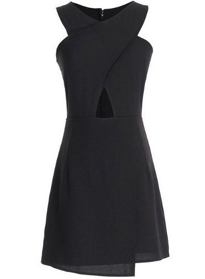 Black Sleeveless Cross Hollow Slim Dress US$28.33