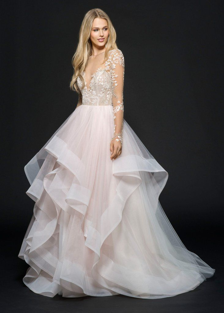 Rosewater tulle long sleeve bridal ball gown, floral beaded and embroidered bodice with illusion bateau neckline and low open back, cascading tiered skirt with horsehair trim. Also available in ivory.