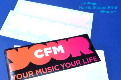 Full colour car window stickers printed for radio station