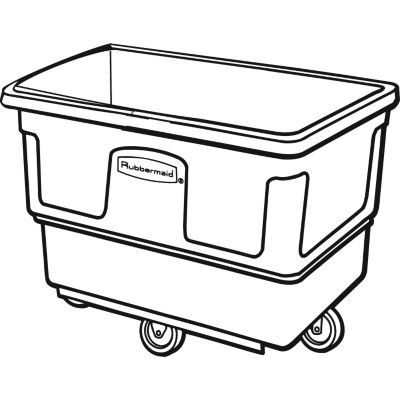 Rubbermaid Commercial FG470800BLA Polyethylene Cube Truck, 700-Pound Capacity, Blacj  Rubbermaid Commercial FG470800BLA Polyethylene Cube Truck, 700-Pound Capacity, Blacj. Hinged design allows access without removing lid. Conceals loads without reducing capacity. USDA Meat & Poultry Equipment Group Listed.  38 inches long by 26.25 inches wide by 29 inches high. 46.5 pounds. Made in the USA. Hinged design allows access without removing lid. Hinged design allows access without removing..