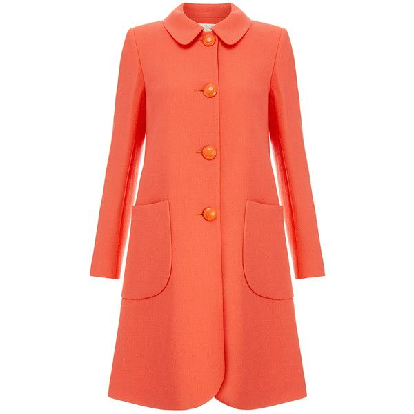 Goat Wade Coral Wool-Crepe Coat ($395) ❤ liked on Polyvore featuring outerwear, coats, casaco, jackets, pink, goat coats, knee length wool coat, knee length coat, pink coat and red coat