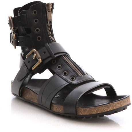 Burberry Prorsum Leather Runway Sandals in Black for Men - Lyst