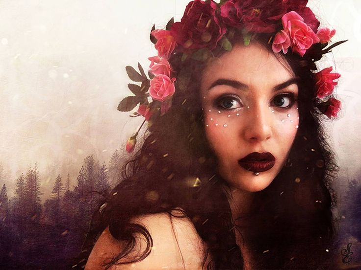 saraeleni, photoshop, flowercrown, roses, gaia, redlips, nature