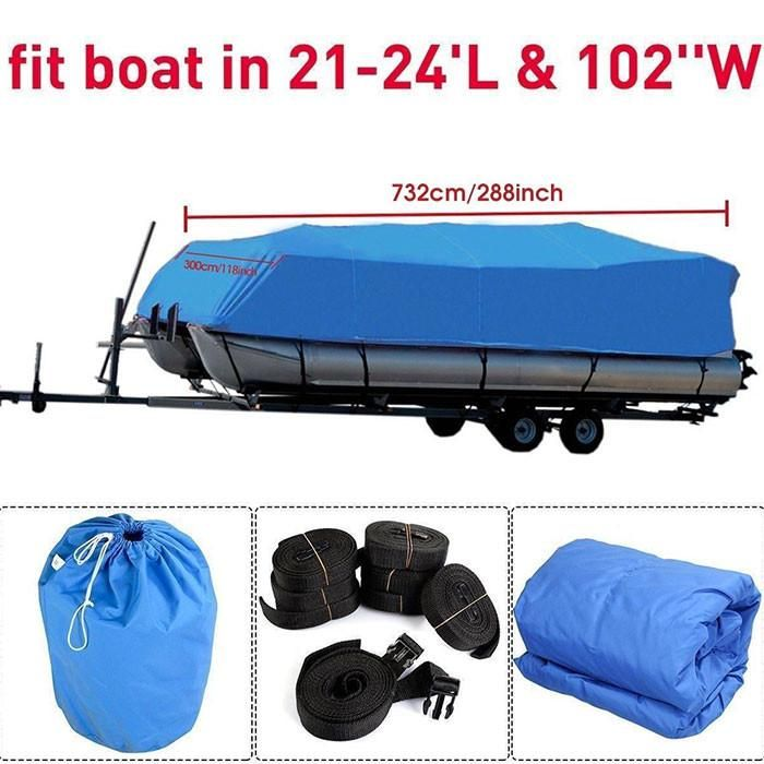 Felji 21-24 Ft Waterproof Heavy Duty Fabric Trailerable Pontoon Boat Cover Blue