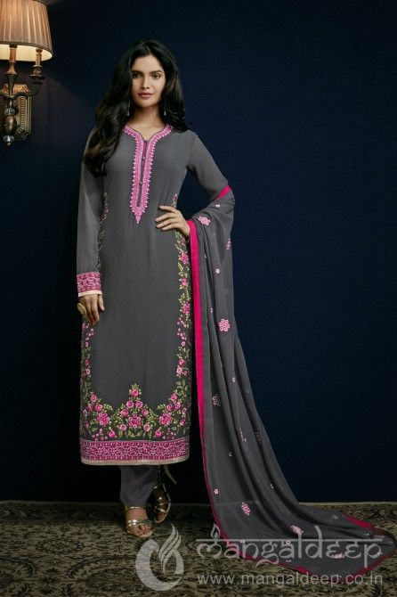 Dark Grey Semi Georgette Semi Stich Salwar Kameez with Embroidery. For more information :- Call us @+919377222211 (Whatsapp Available)