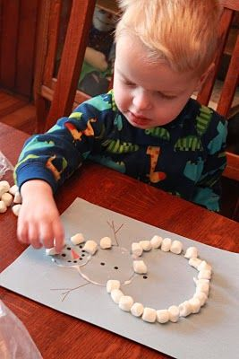 Marshmallow Snowman Craft (Use Cotton balls instead)