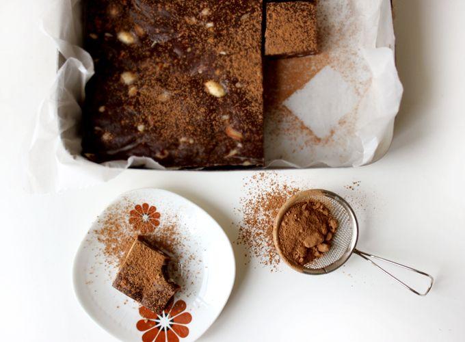 The Raw Brownie Recipe Desserts with walnuts, medjool date, raw cacao, unsalted almonds, sea salt