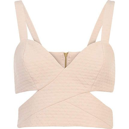 Pink jacquard cut out strappy bralet - crop tops / bralets / bandeau tops - tops - women