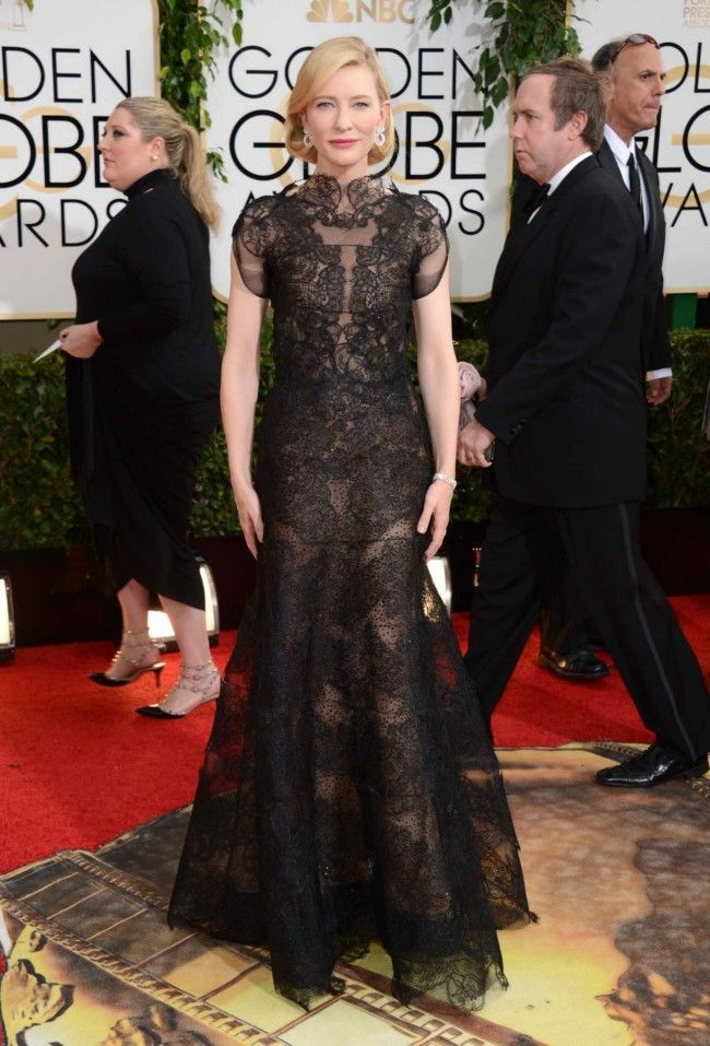 A vision in black - Cate Blanchett in Armani Privé at the Golden Globes. I adore her jewelry choice.
