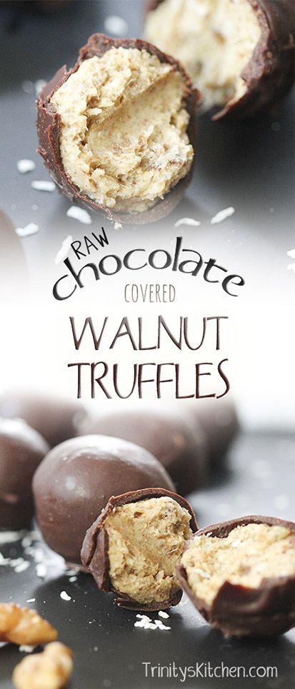 Raw chocolate covered walnut truffle recipe. High in omega 3 essential fats. #dariyfree #glutenfree #vegan #healthy #dessert