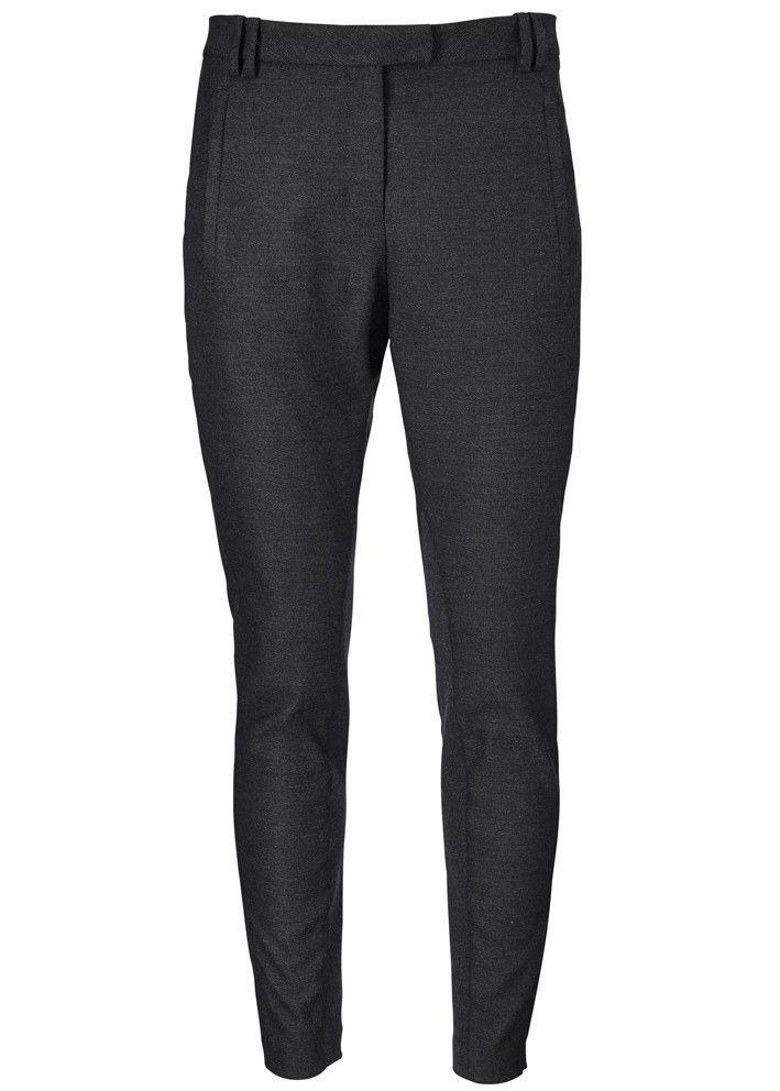 Gustav Baggy Stretch Pants 16003 black melange - sort melerede bukser – acorns