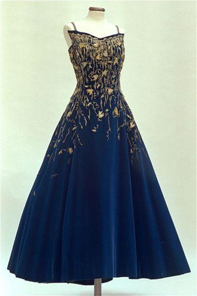 Cobalt blue velvet and gold thread embroidered Sorelle Fontana Atelier evening gown