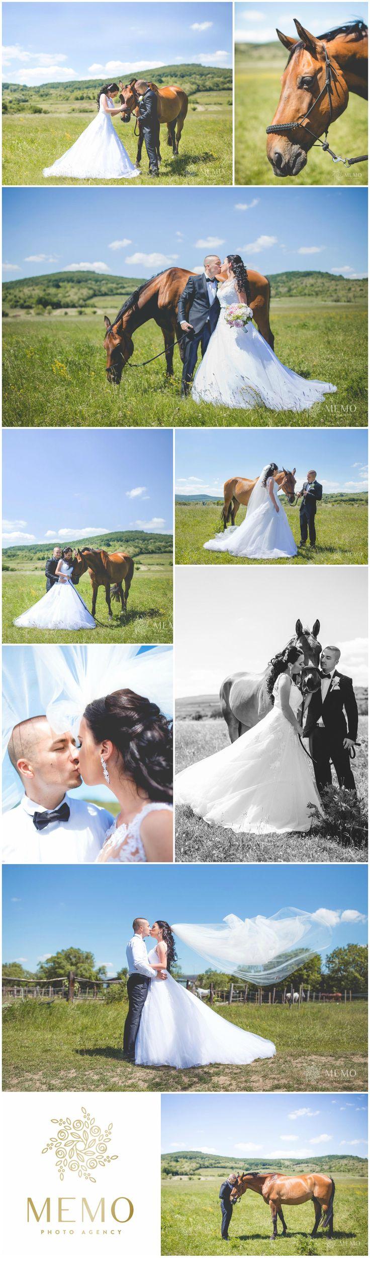 Wedding portraits with horse -  MEMO photo agency www.memo.sk  #wedding #portrait #photography #photo #horse #horses #inspiration #weddingrings #rings #bride #weddingdress #couple #love #sun #memo #memophotoagency