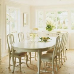 Beautiful dining area with rococo inspired table and chairs.