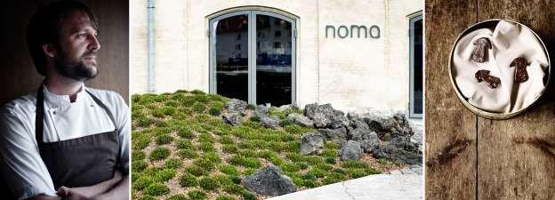 3. Noma in Kopenhagen Chefkoks: René Redzepi (foto) en Daniel Giusti Soort keuken: Scandinavische streekgerechten volgens het seizoen Signatuurgerecht: Zoete garnalen gewikkeld in daslook bladeren