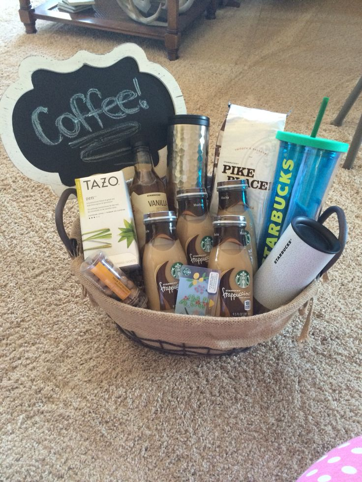 Starbucks themed silent auction basket Starbucks gift
