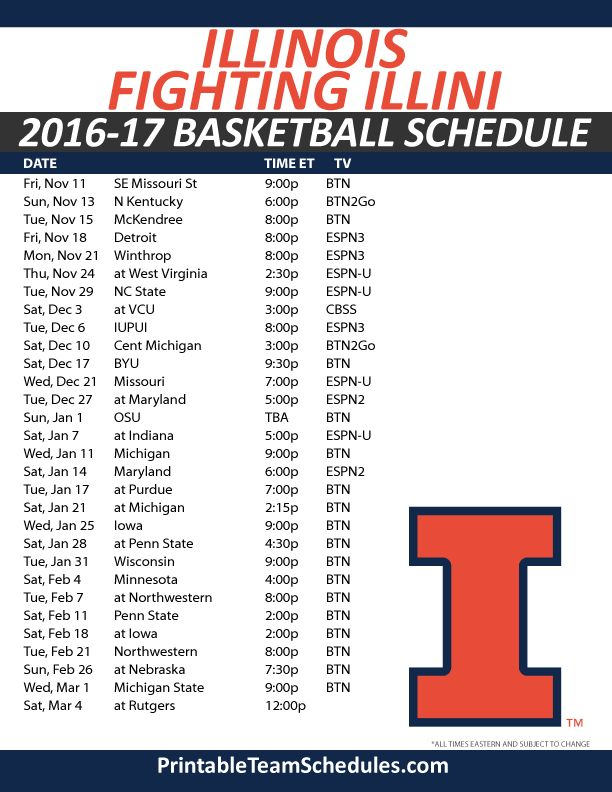 Illinois Fighting Illini Basketball Schedule 2016-17 Print Here - http://printableteamschedules.com/NCAA/illinoisfightingillinibasketball.php